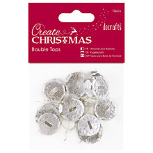 Buy Docrafts Bauble Tops, Silver, 10pcs Online at johnlewis.com
