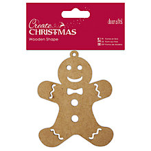 Buy Docrafts Christmas Wooden Shape Gingerbread Man Decoration, Brown Online at johnlewis.com