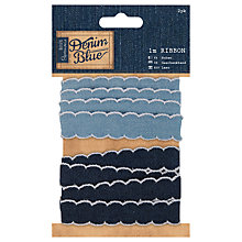 Buy Docrafts Denim Scalloped Ribbon, Blue, 1m, 2pcs Online at johnlewis.com