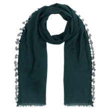 Buy Jigsaw Contrast Pom Pom Scarf, Teal Online at johnlewis.com