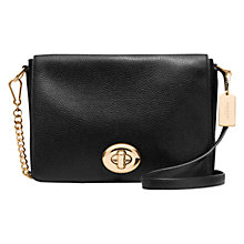 Buy Coach Turnlock Leather Shoulder Bag, Black Online at johnlewis.com