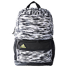 Buy Adidas Medium Graphic Sports Backpack, Black/White Online at johnlewis.com