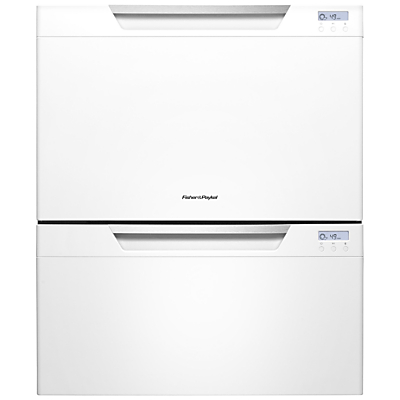 Fisher & Paykel DD60DCHW7 Built-in Double DishDrawer Dishwasher, White Gloss