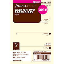 Buy Filofax Week On 2 Pages 2016 Diary Inserts, Pocket, Cream Online at johnlewis.com