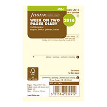 Buy Filofax Week on 2 Page 2016 Diary Insert, Mini, Cream Online at johnlewis.com