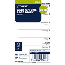 Buy Filofax Week Per Page 2016 Diary Insert, Mini, White Online at johnlewis.com