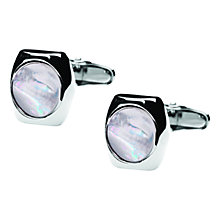 Buy Denison Boston Skimm Classic Mother of Pearl Cufflinks, Silver Online at johnlewis.com