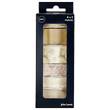 Buy John Lewis Contemporary Christmas Ribbons, Pack of 6, Neutral Online at johnlewis.com