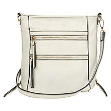 Buy Oasis Katie Zip Across Body Bag, Pale Grey Online at johnlewis.com