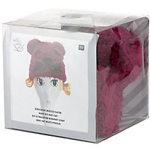 Buy Rico Knitted Cat Hat Kit, Berry Online at johnlewis.com
