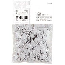 Buy Docrafts Wedding Ever After Satin Ribbon Roses, Silver, 100pcs Online at johnlewis.com