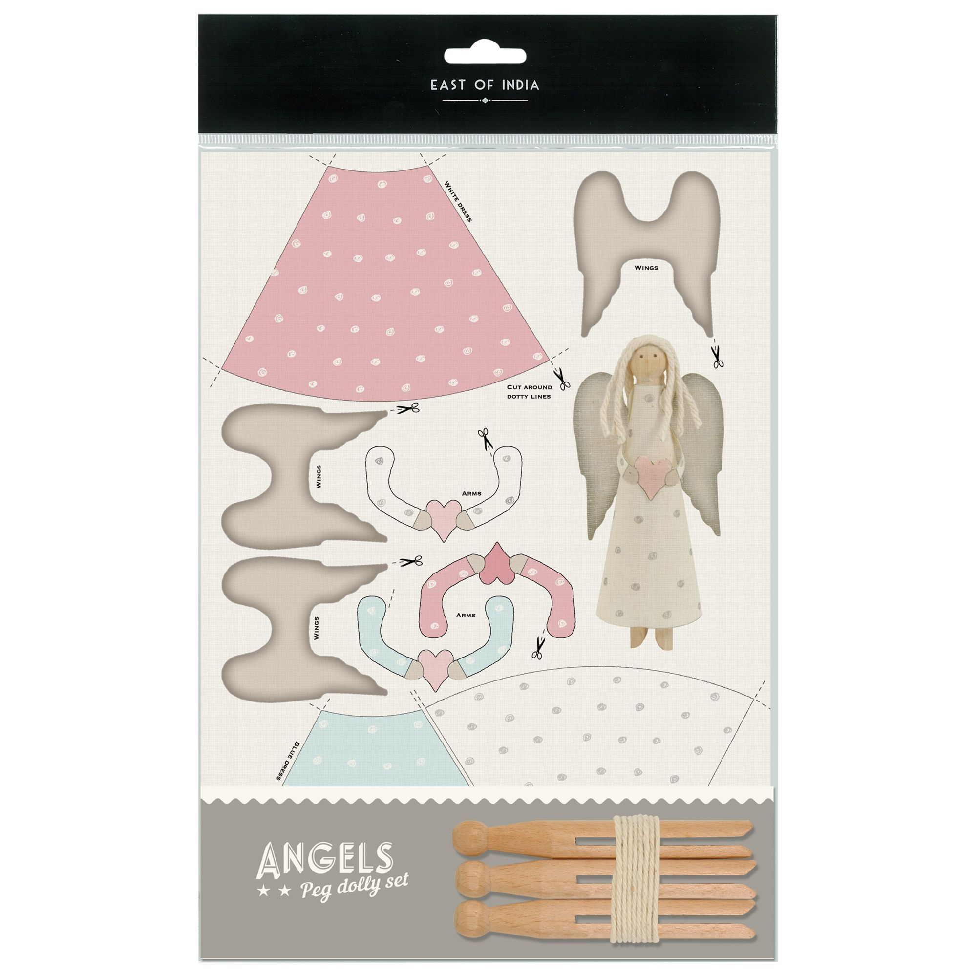 East of India East of India Dolly Peg Rustic Angels Kit