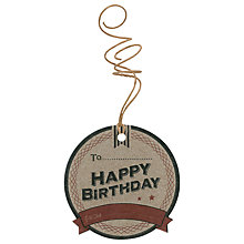 Buy East of India Happy Birthday Gift Tags, Pack of 6, Brown Online at johnlewis.com