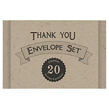 Buy East of India Craft Thank You Envelope Set, Pack of 20, Brown Online at johnlewis.com