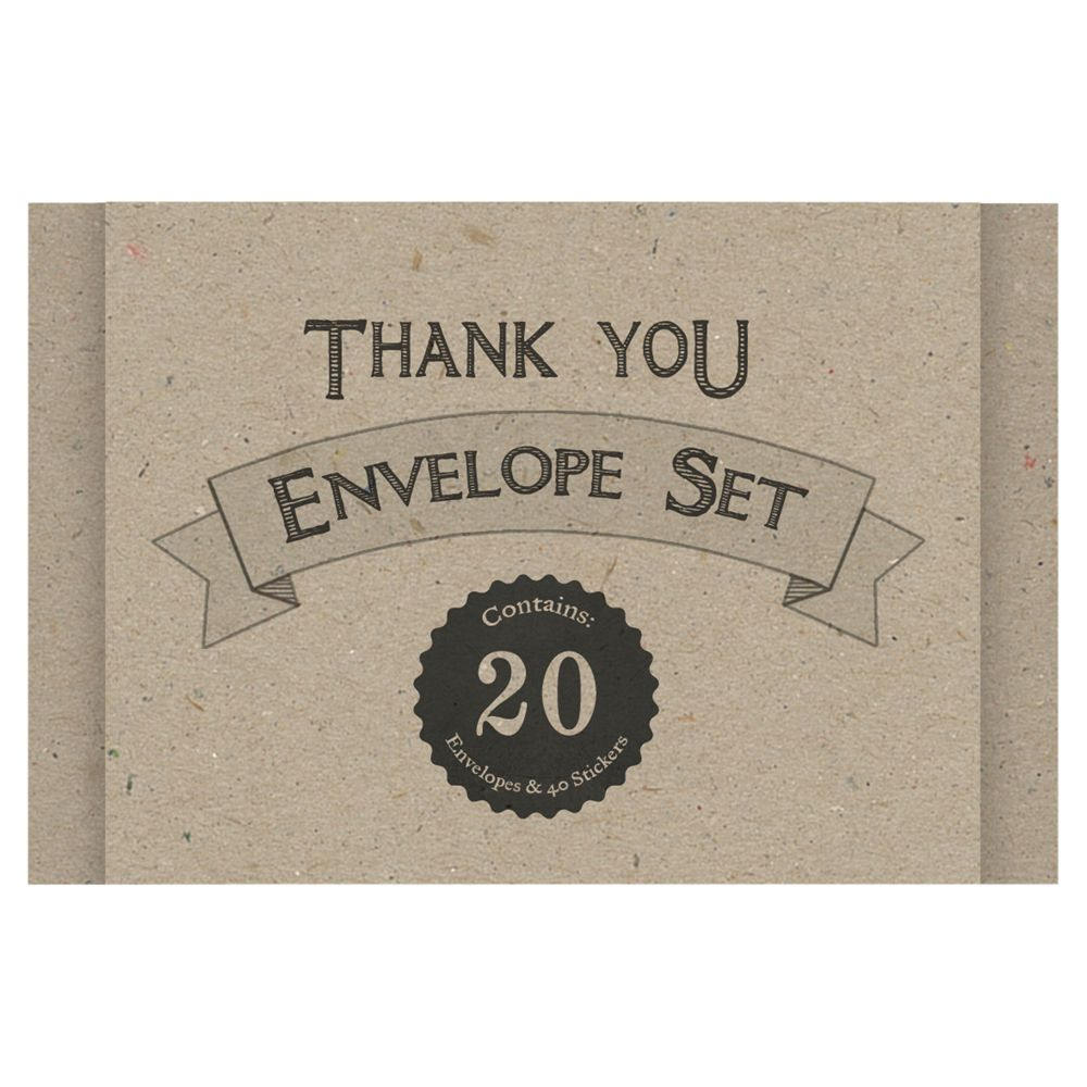 East of India East of India Craft Thank You Envelope Set, Pack of 20, Brown