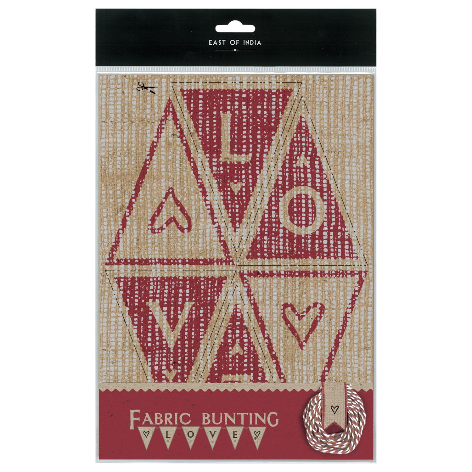 East of India East of India Fabric Bunting Kit, Natural/Red