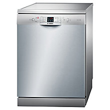 Buy Bosch SMS53M08GB Freestanding Dishwasher, Silver Inox Online at johnlewis.com