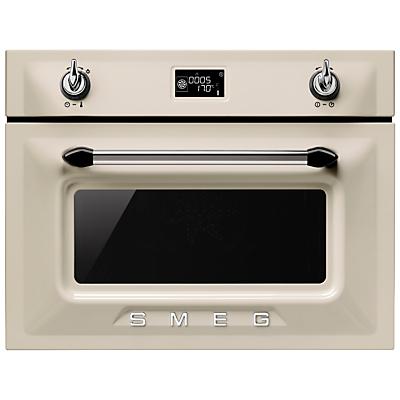 Smeg SF4920MCP Victoria Integrated Compact Combi Microwave Oven, Cream