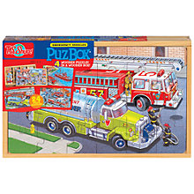 Buy T.S.Shure Emergency Vehicles PuzBox, Set of  4 Wooden Puzzles Online at johnlewis.com