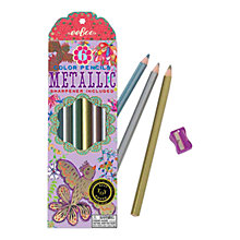 Buy Eeboo Gold Birds Metallic Coloured Pencils, Pack of 6 Online at johnlewis.com