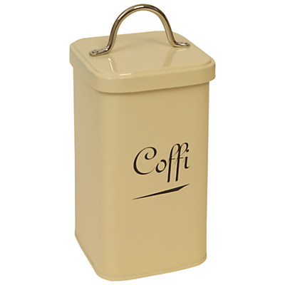 J D Burford Coffi Canister, Cream and Chrome