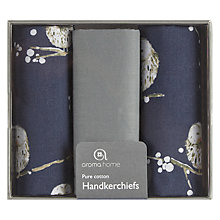 Buy Aroma Home Printed Owl Hankerchiefs, Set of 3 Online at johnlewis.com