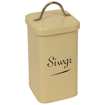 J D Burford Siwgr Canister, Cream and Chrome