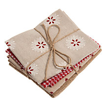 Buy John Lewis Christmas Fat Quarters, Pack of 4, Red Online at johnlewis.com