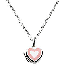 Buy Kit Heath Girls Sterling Silver Enamel Heart Locket Pendant Necklace, Silver/Pink Online at johnlewis.com