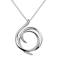Buy Kit Heath Sterling Silver Cubic Zirconia Regent Helix Pave Necklace, Silver Online at johnlewis.com