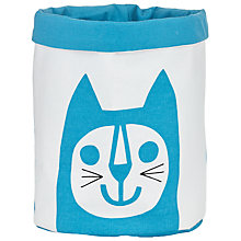 Buy Jane Foster Cat Knitting Bucket, Blue/White Online at johnlewis.com