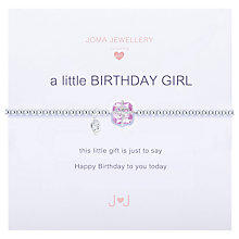 Buy Joma Sterling Silver Plated Cubic Zirconia A Little Birthday Girl Bracelet, Silver Online at johnlewis.com