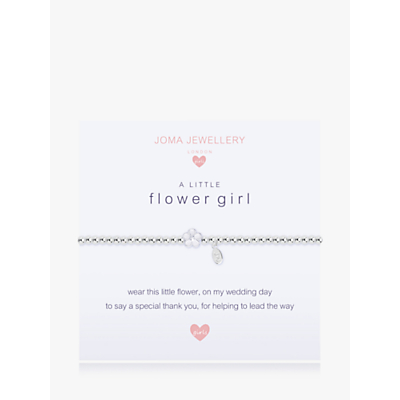 Joma Sterling Silver Plated A Little Flower Girl Bracelet, Silver