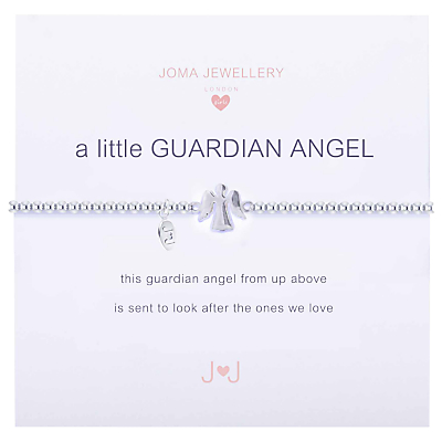 Joma Sterling Silver Plated A Little Guardian Angel Bracelet, Silver