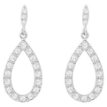 Buy Joma Sterling Silver Plated Thea Pave Cubic Zirconia Thea Drop Earrings, Silver Online at johnlewis.com