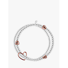 Buy Joma Lila Sterling Silver Plated Rose Gold Heart Bracelet, Silver Online at johnlewis.com