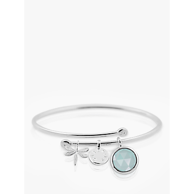 Joma Sterling Silver Plated Crystal Story Serenity Bangle, Silver