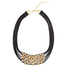 Buy Adele Marie Gold Plated Bead Faux Leather Necklace, Gold Online at johnlewis.com