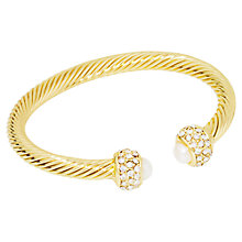 Buy Adele Marie Gold Plated Diamante Pearl Bangle, Gold Online at johnlewis.com