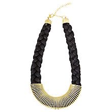 Buy Adele Marie Gold Plated Faux Leather Cord Plait Necklace, Gold Online at johnlewis.com