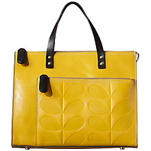 Buy Orla Kiely Embossed Stem Leather Large Shoulder Bag, Mustard Online at johnlewis.com