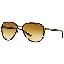 Buy Michael Kors MK5006 Polarised Aviator Sunglasses, Tortoise Online at johnlewis.com