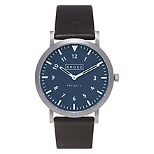 Buy Shore Projects W010S014 Unisex Newquay Leather Strap Watch, Black/Silver Online at johnlewis.com