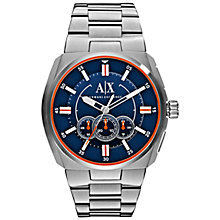 Buy Armani Exchange AX1800 Men's Clutch Blue Dial Silver Bracelet Strap Watch, Silver Online at johnlewis.com