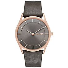 Buy Skagen SKW2346 Women's Holst Leather Strap Watch, Grey/Rose Gold Online at johnlewis.com