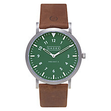 Buy Shore Projects W012S016 Unisex Camber Leather Strap Watch, Tan/Green Online at johnlewis.com