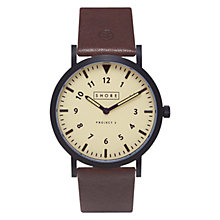 Buy Shore Projects W011S015 Unisex Barra Leather Strap Watch, Brown Online at johnlewis.com