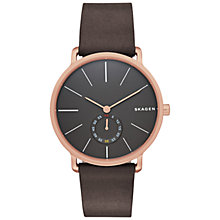 Buy Skagen SKW6213 Men's Hagen Leather Strap Watch, Brown/Rose Gold Online at johnlewis.com