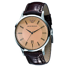 Buy Emporio Armani AR2427 Men's Renato Amber Brown Leather Strap Bracelet Watch, Brown Online at johnlewis.com