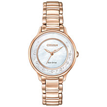 Buy Citizen EM0382-86D Women's Circle Of Time Rose Gold Plated Bracelet Strap Watch, Rose Gold/White Online at johnlewis.com